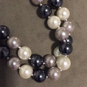 Park Lane Jewelry - Pearls black white and grey long strand